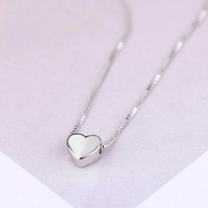 NEW 925 Sterling Silver Simple Heart Necklace